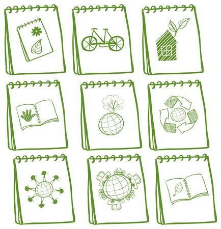 Illustration of the notebooks with green drawings at the cover page on a white background Stock Vector - 19301483