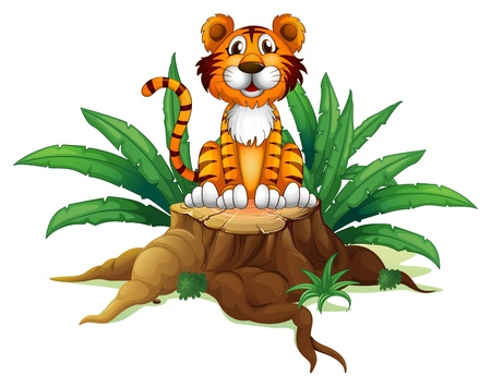 Illustration of a tiger sitting above a tree on a white background Vector
