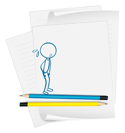 Illustration of a paper with a drawing of a boy sweating on a white background Stock Vector - 19301267