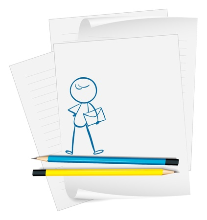 Illustration of a paper with a drawing of a boy holding an envelope on a white background Stock Vector - 19301268