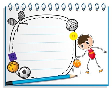 Illustratie van een notebook met een tekening van een jongen met de verschillende sporten accessoires op een witte achtergrond