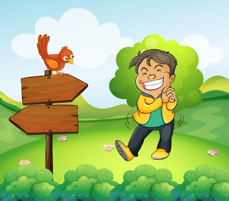 Illustration of a boy smiling in the garden with a wooden arrow board Vector