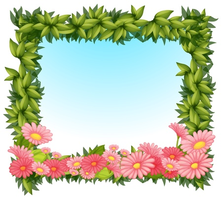 Illustration of a framed leaves with pink flowers on a white backround Vector