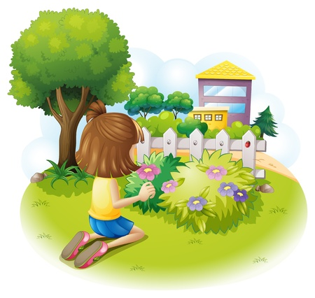 glass fence: Illustration of a girl at the garden on a white background