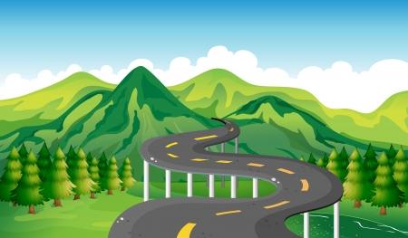 Illustration of a narrow road Vector