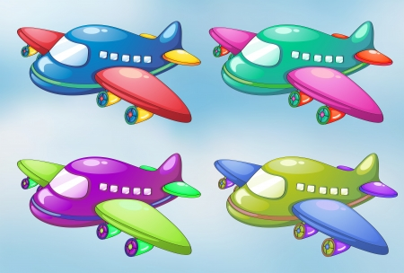 lllustration of the four toy planes in the sky  Vector