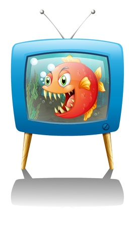 television show: Illustration of a television show with a big orange piranha on a white background Illustration