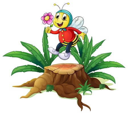 bee on white flower: Illustration of a wood with a bee holding a flower on a white background