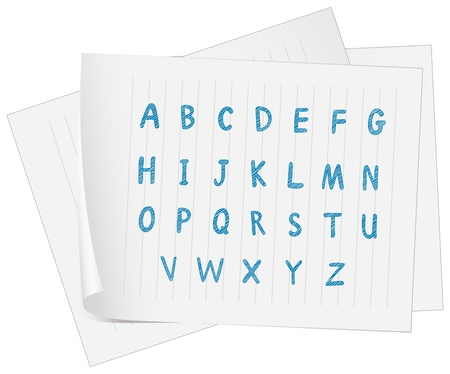 gradeschool: Illustration of a paper with the complete letters of the alphabet on a white background
