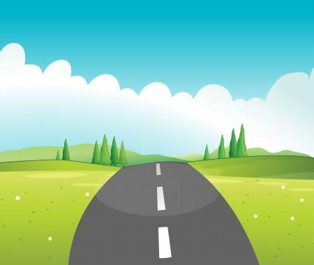 narrow street: Illustration of a long road