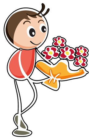 love couples: Illustration of a boy holding a bouquet of flowers on a white background