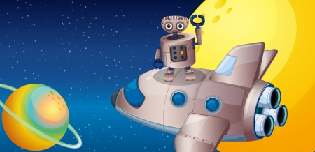 outerspace: Illustration of a robot above the spaceship in the outerspace