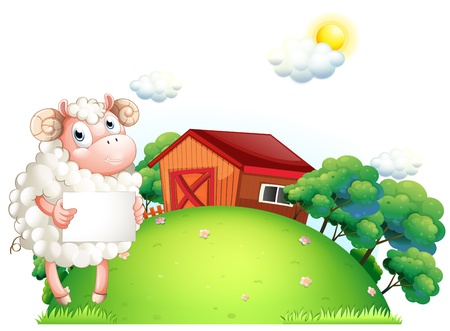 Illustration of a sheep holding an empty paper in front of a barn on a white background  Vector