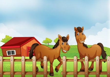 Illustration of the horses inside the wooden fence with a barn