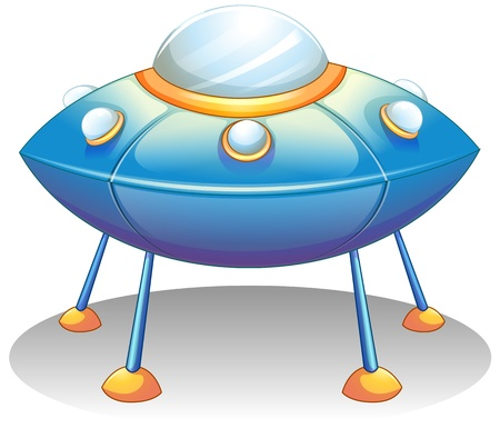 Illustration of a flying saucer on a white background  Vector