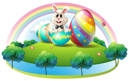 crackling: Illustration of a bunny inside the easter egg on a white background Illustration