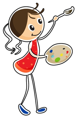 red head girl: Illustration of a woman holding a paint pallet and a paint brush on a white background