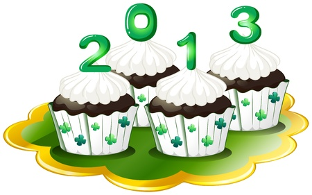 Illustration of the cupcakes for 2013 on a white background Vector