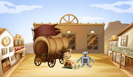 computerized: Illustration of a boy and a robot near a wagon