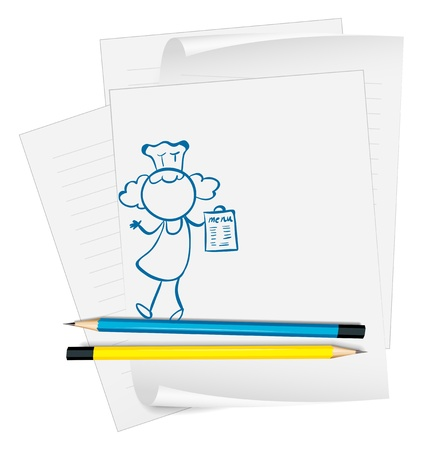 Illustration of a paper with a drawing of a girl holding a menu on a white background Stock Vector - 19301282