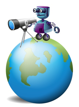 controll: Illustration of a robot with a telescope above the planet earth on a white background Illustration