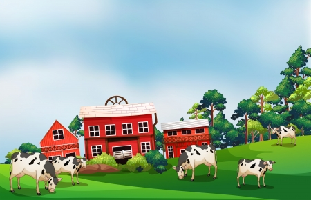 Illustration of the cows in the farm  Vector