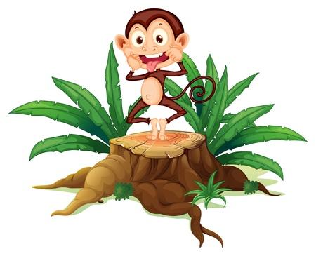 boastful: Illustration of a boastful monkey above the trunk on a white background Illustration