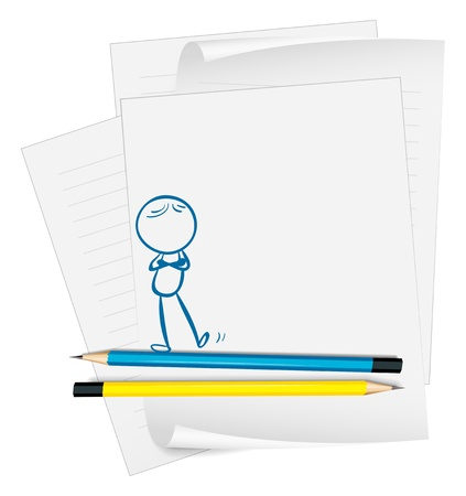 Illustration of a paper with a drawing of a person standing on a white background Stock Vector - 19301266