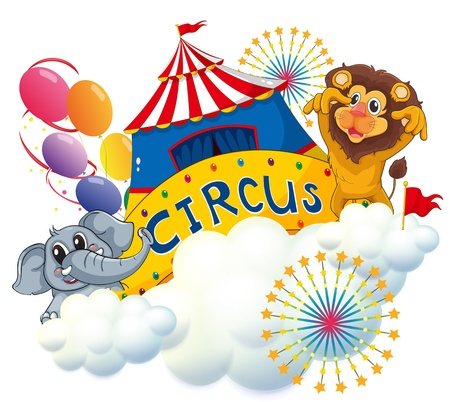 oblong: Illustration of a lion and an elephant near the circus signage on a white background