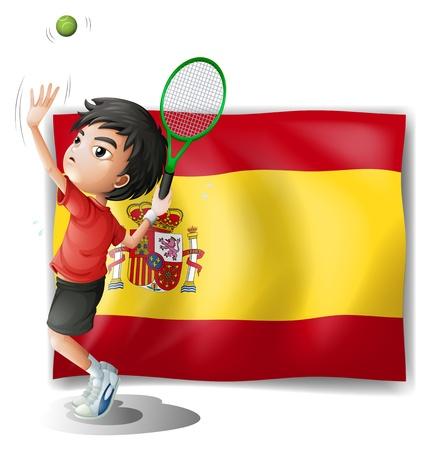 bandiera spagnola: Illustrazione di un giocatore di tennis di fronte alla bandiera spagnola su uno sfondo bianco Vettoriali