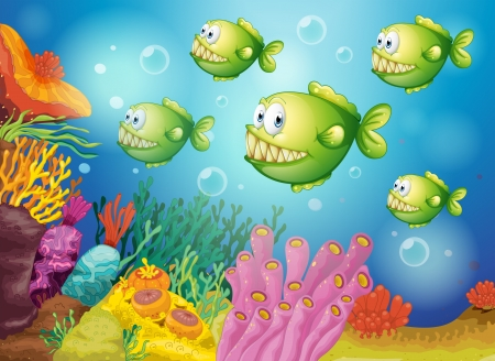 underworld: Illustration of a group of green piranhas under the sea