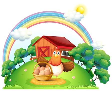 granja avicola: Ilustración de una gallina con una cesta de huevos en la granja sobre un fondo blanco Vectores