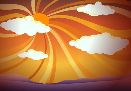 Illustration of a sunset view with clouds Vector