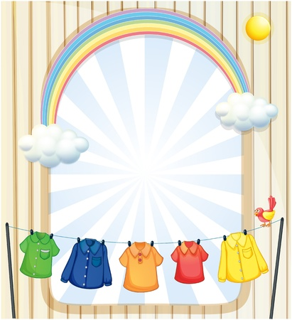 rainbow sphere: Illustration of an entrance with hanging clothes