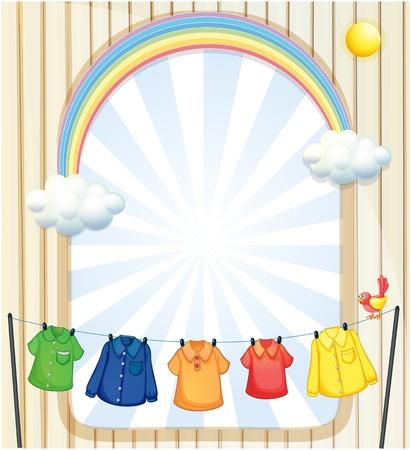 laundry line: Ilustraci�n de una entrada con ropa tendida Vectores