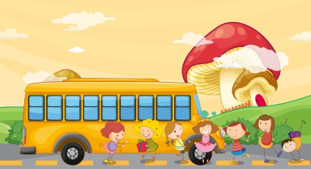 Illustration of the students playing near the school bus Vector