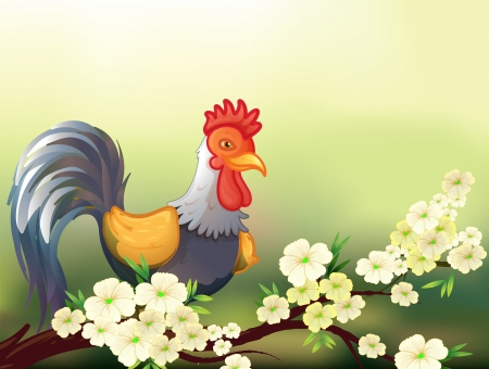 fresh leaf: Illustration of a chicken in a cherry blossom tree Illustration