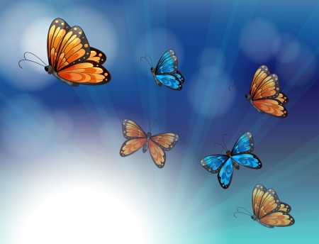 Illustration of the colorful butterflies in a gradient colored stationery Vector