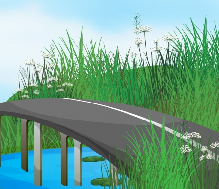 steel bridge: Illustration of a curve road in the river Illustration
