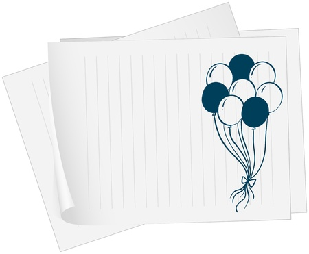 Illustration of a paper with a drawing of balloons on a white background Stock Vector - 19389540