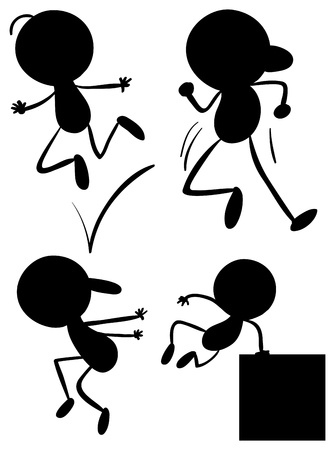 square dancing: Illustration of the silhouettes of young men on a white background