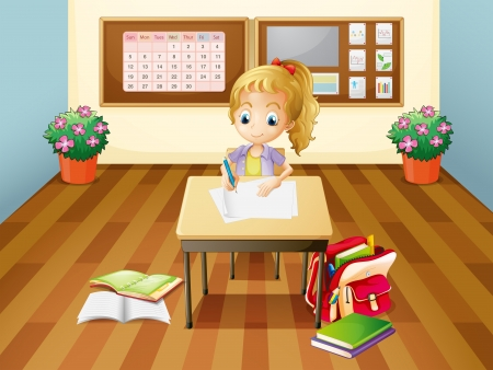 Illustration of a girl at the desk Vector