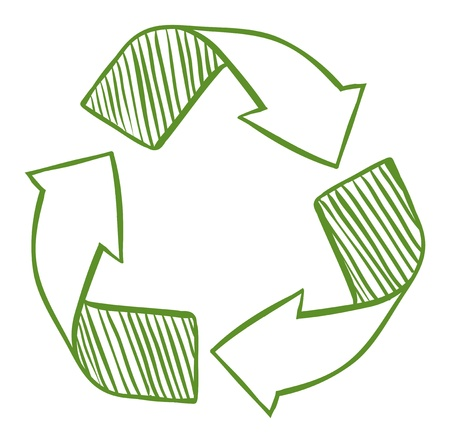 Illustration of the recycle arrows on a white background  Illustration