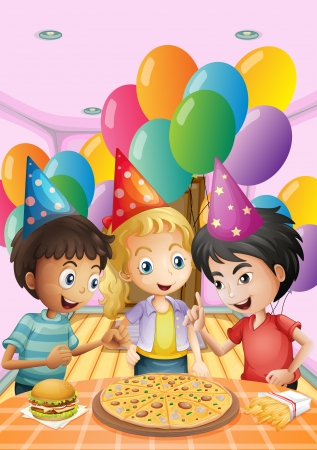 young people party: Illustration of the kids celebrating a birthday with a pizza, burger and fries