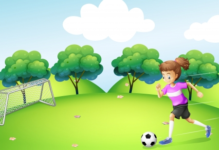 footwork: Illustration of an athletic girl playing soccer Illustration