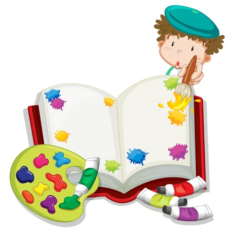color image creativity: Illustration of a boy painting a book on a white background