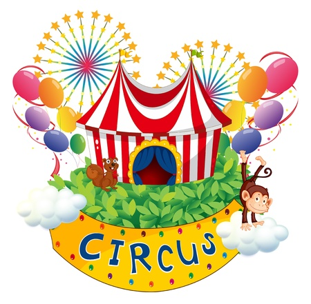 carnival background: Illustration of a carnival with a circus signboard on a white background Illustration