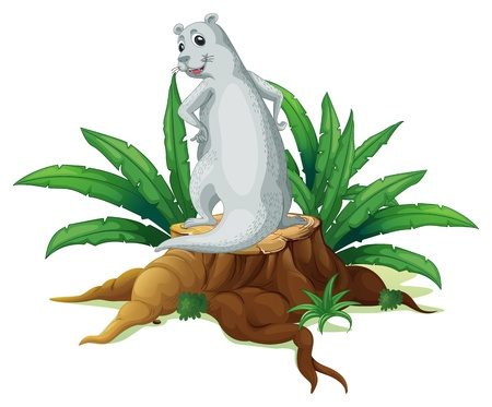 backview: Illustration of a backview of the sealion above the stump on a white background