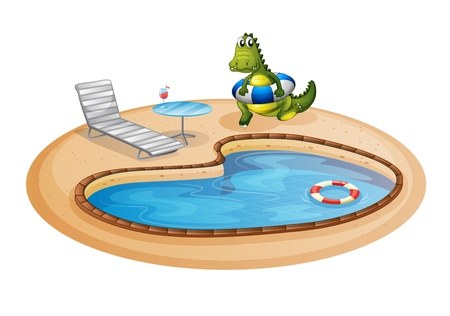 pool tables: Illustration of a swimming pool with a crocodile inside a buoy on a white background