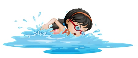 Illustrtaion of a girl swimming with goggles on a white background